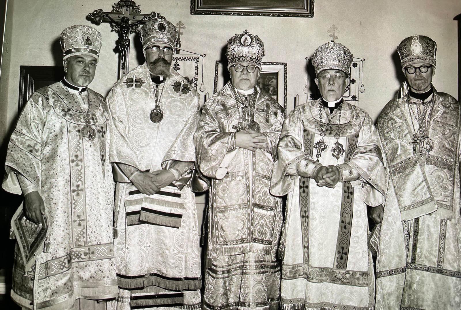 Meeting with Canadian Bishops c. 1960:  Archbishop Mstyslav, Archbishop Hennadij, Metrpolitan Ilarion, Metrpolitan John, Archbishop Michael